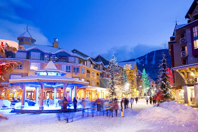 Whistler Village stroll lit up for the holidays.
