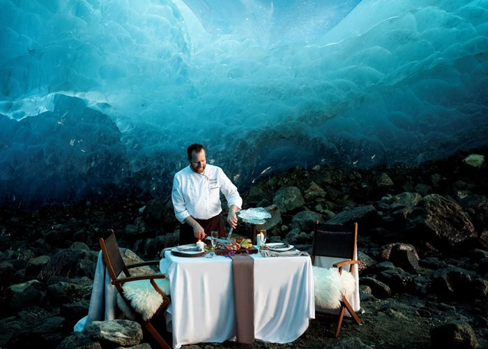 The Blue Room ice cave dinner set up at Cornucopia.