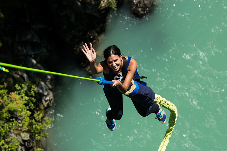 Woman bungee jumping in Whistler