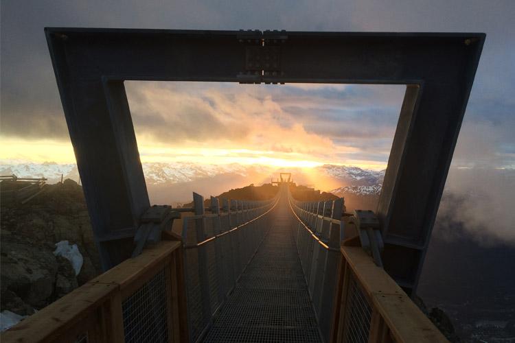 Sunset over the Whistler Peak Suspension Bridge