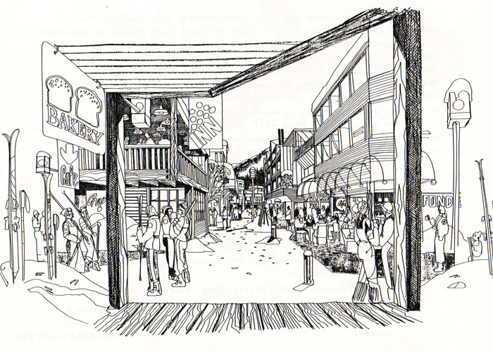 Eldon Beck's conceptual drawings of Whistler Village.