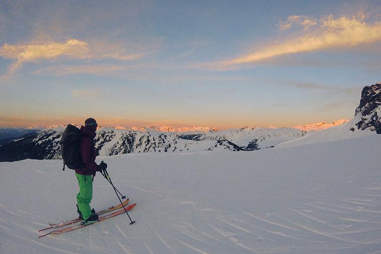 Backcountry skier nears the summit of Black Tusk.