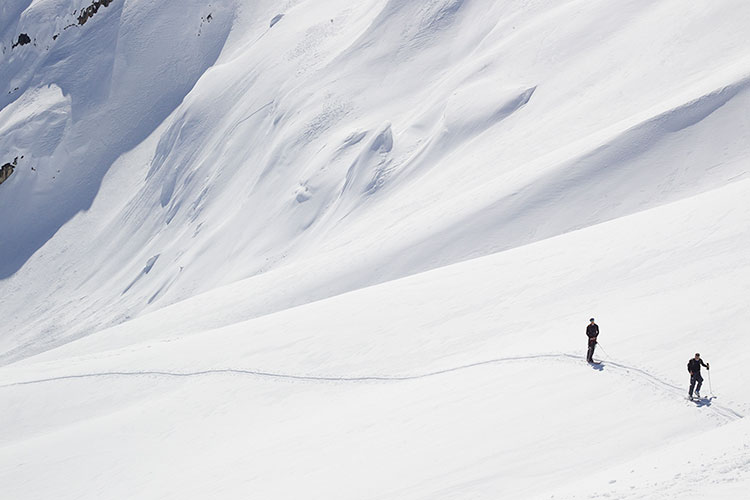 A skier in the pristine backcountry.