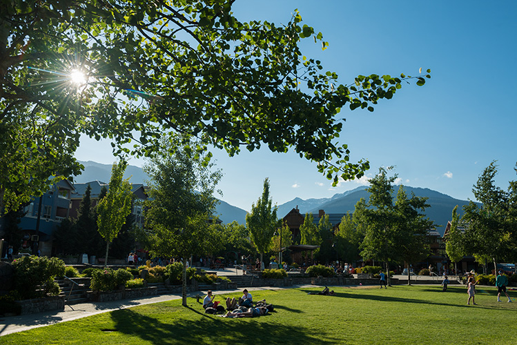 Picnickers at Whistler Olympic Plaza