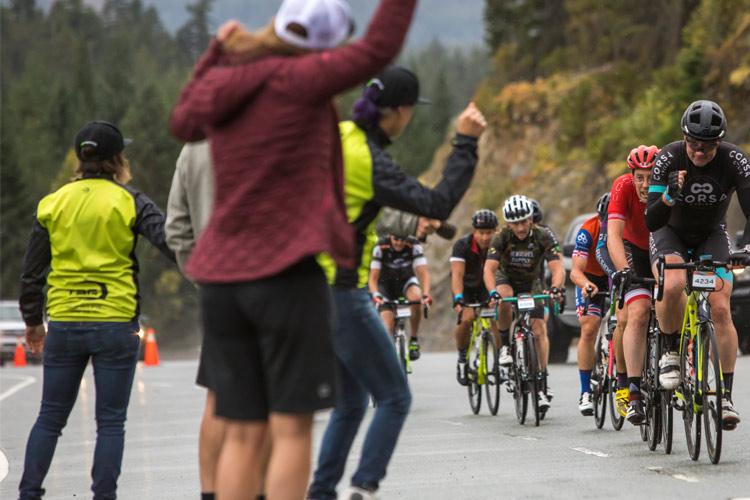 Spectators cheer RBC Granfondo Participants Whistler