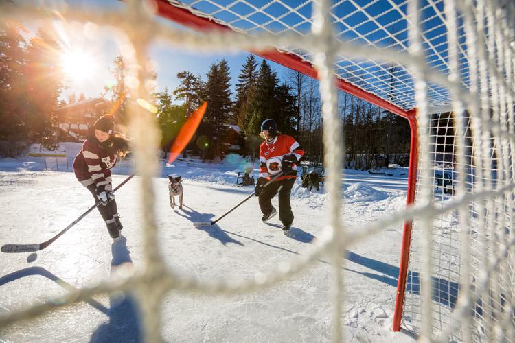 Pond hockey on Green Lake. Whistler, BC.