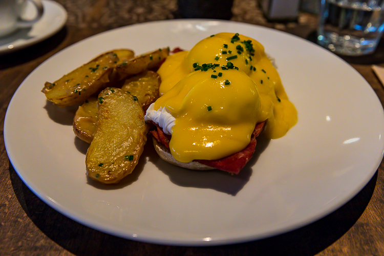 The baked ham eggs benny at Fifi's.