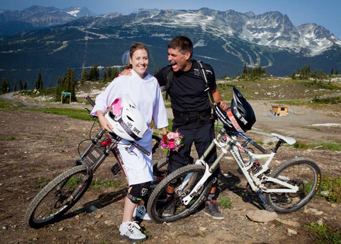 Sarah and Brett Tippie Biking Wedding