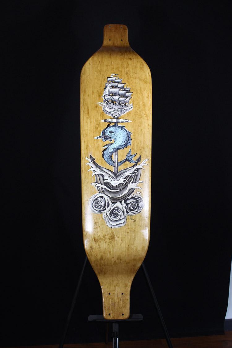 Longboard Deck. Artist: Helen Wojcik