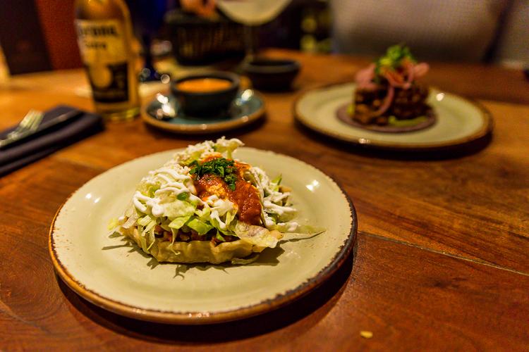 The Chorizo Sopecito and Escabeche de Mariscos at Mexican Corner.