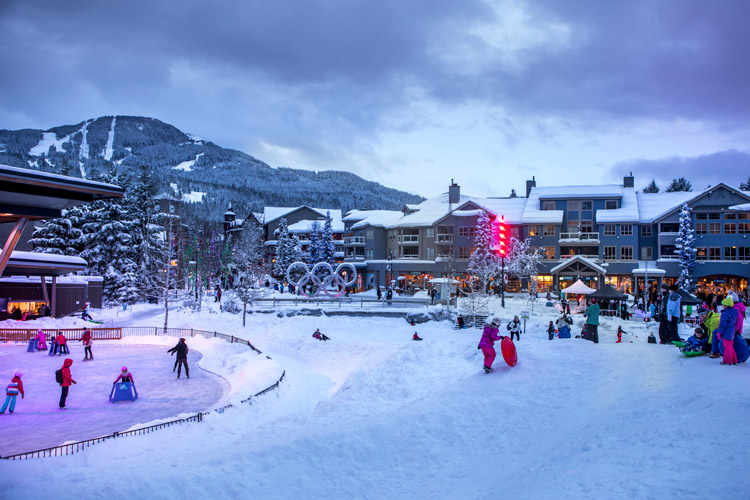 Family Apres at Whistler Olympic Plaza in winter