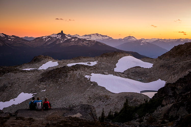 Hikers watching the sunset in the Whistler alpine