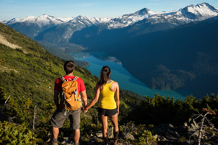 Hikers looking at Cheakamus Lake view in Whistler