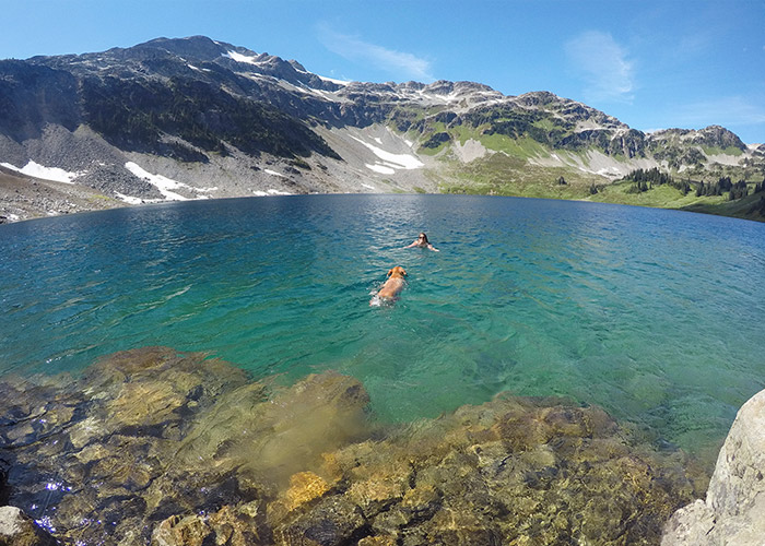 Cooling off in Cirque Lake