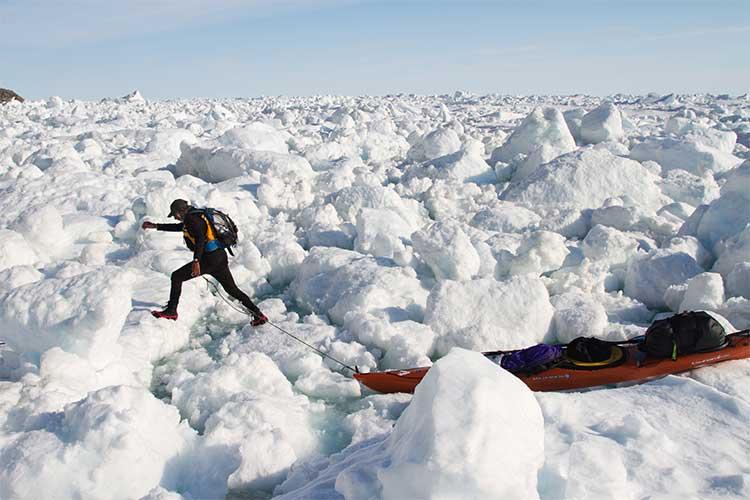 Jon Turk traversing the ice.
